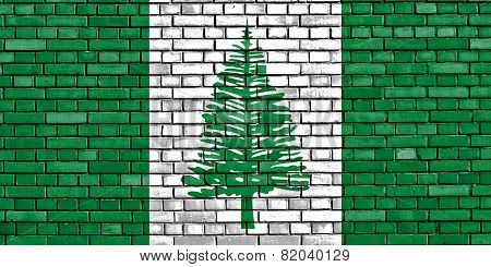 Flag Of Norfolk Island Painted On Brick Wall
