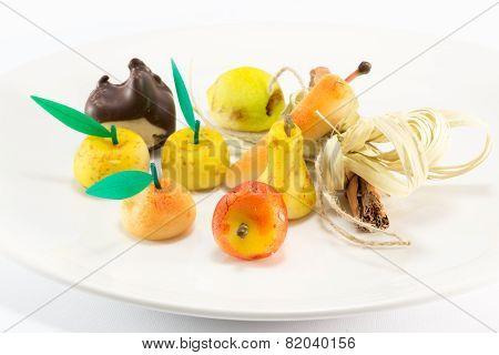 Sweet Marzipan Fruit Candies Dessert
