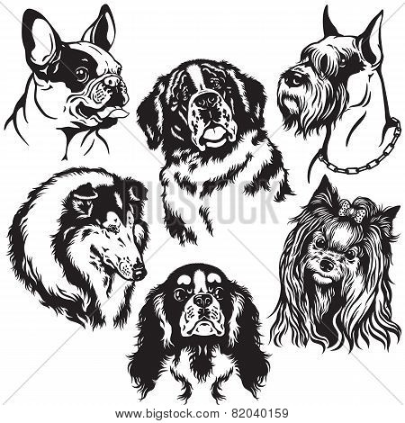 set with dogs heads