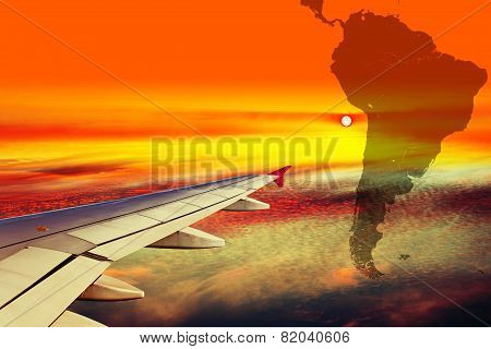 Wing Of The Plane At Sunset