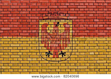 Flag Of Potsdam Painted On Brick Wall
