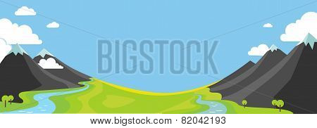 Panorama Vector Illustration Of Mountains And Valley
