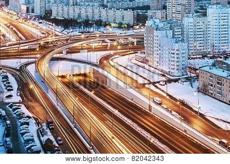Road Junction In The Streets Of Moscow In Winter