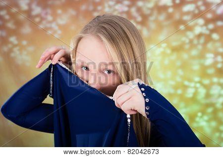 Teen Girl In Blue Dance Costume