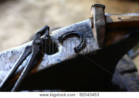 Anvil, Horse Shoe And Hammer