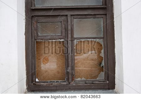 The Window Frame With Broken Glass