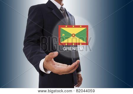 Businessman hand showing Grenada Flag