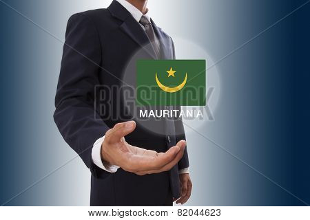 Businessman hand showing Mauritania Flag
