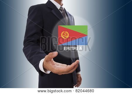 Businessman hand showing Eritrea Flag