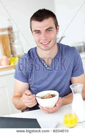 Charming Man Having Breakfast