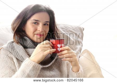 Alluring Girl Drinking Something Hot Inside Valentine Decorated Glass