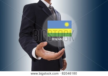 Businessman hand showing Rwanda FlagBusinessman hand showing Rwanda Flag