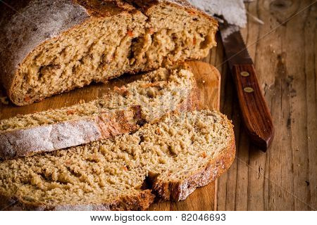 Fresh Rye Bread With Knife
