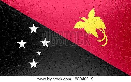 Papua New Guinea flag on metallic metal texture