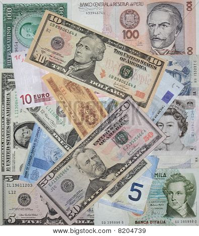 Various world currencies