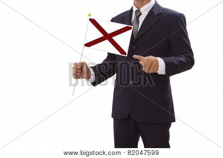 Businessman with Alabama Flag