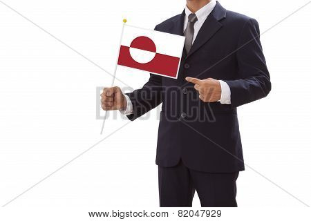 Businessman with Greenland Flag