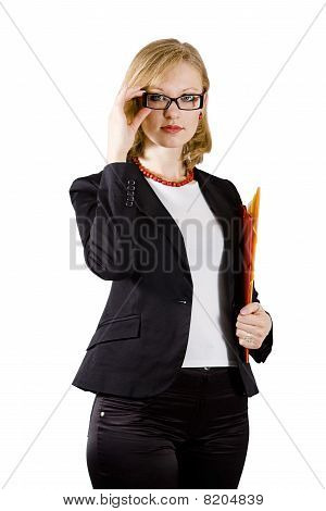 Young Businesswoman With Colored Folders