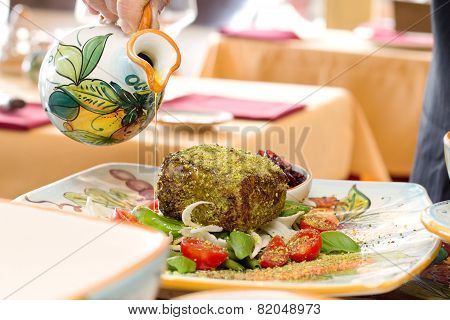Serving Dish With Tuna Fillet Cooked In Sesame Crust And Fresh Vegetables