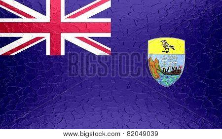 Saint Helena flag on metallic metal texture