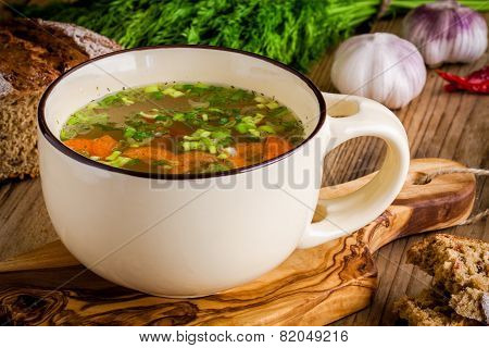 Cup With Vegetable Soup With Bread