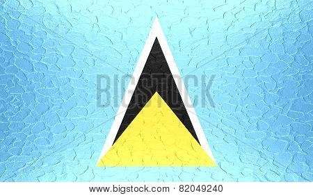Saint Lucia flag on metallic metal texture