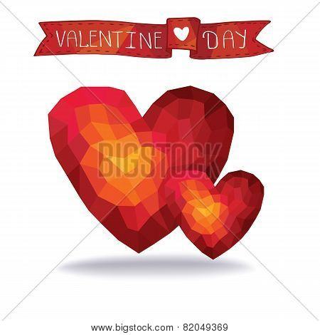 Abstract polygons two red hearts.eps