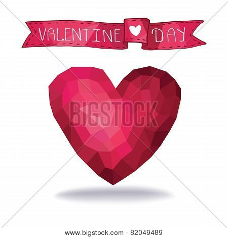 Abstract polygons pink heart with ribbon.eps
