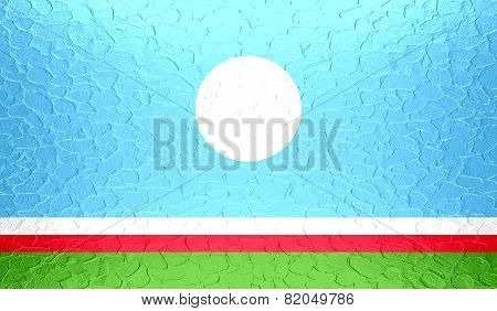 Sakha Republic flag on metallic metal texture