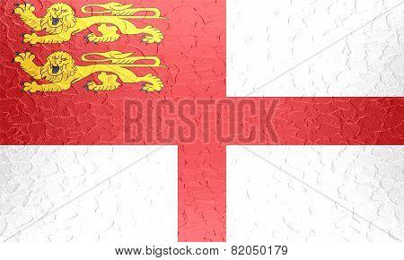Sark flag on metallic metal texture
