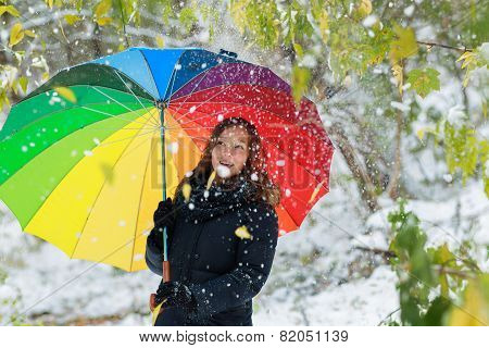 Happy Girl With Umbrella Playing With Snow And Jump In The Winter Landscape. Girl Playing With A Col