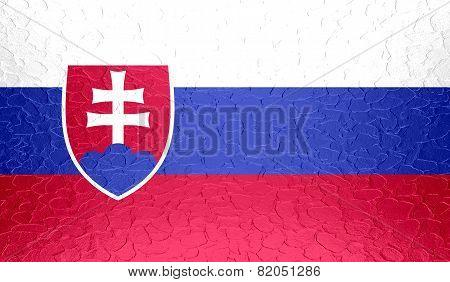 Slovakia flag on metallic metal texture