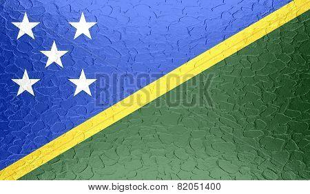 Solomon Islands flag on metallic metal texture
