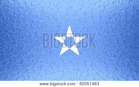 Somalia flag on metallic metal texture