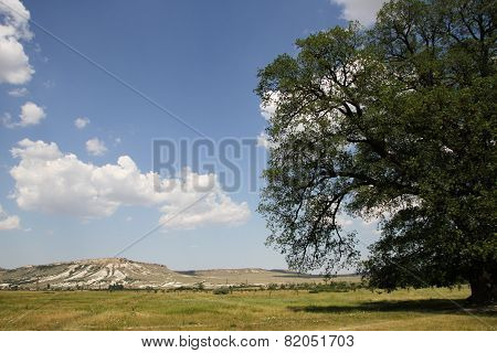 View from the Suvorov oak on white mountain in Crimea