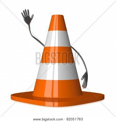 Traffic Cone Character Waving Hand