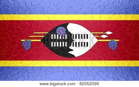 Swaziland flag on metallic metal texture