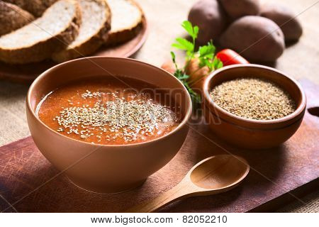 Vegetable Cream Soup with Sesame
