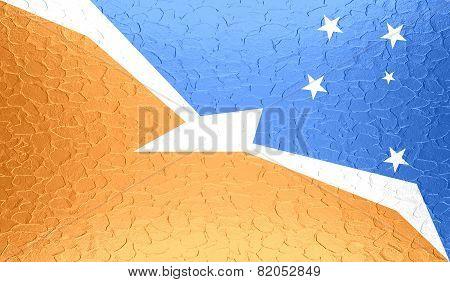 Tierra del Fuego Province - Argentina flag on metallic metal texture