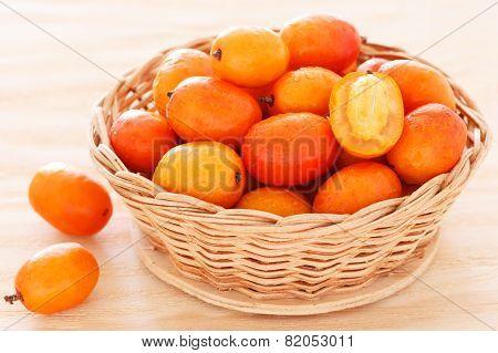 Fruit Jocote (sineguela, Siriguela, Red Mombin, Purple Mombin, Hog Plum,  Ciruela Huesito) In Wicker poster