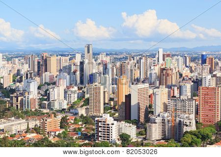 Panoramic View Of City Center, Buildings, Hotels, Curitiba, Parana, Brazil