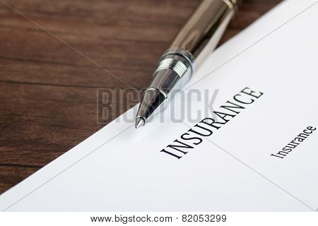 Insurance  Form On The Desk In The Office