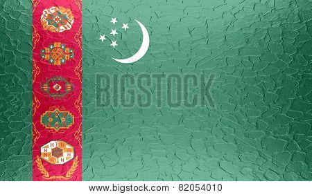 Turkmenistan flag on metallic metal texture