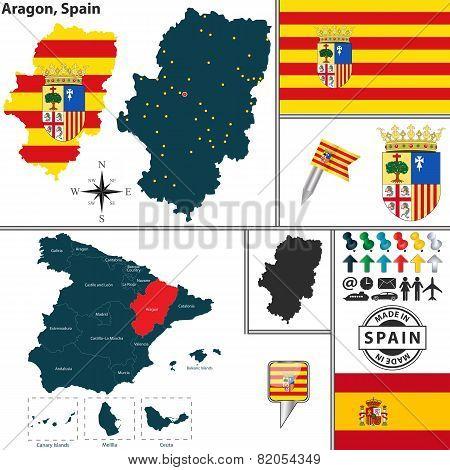 Map Of Aragon, Spain