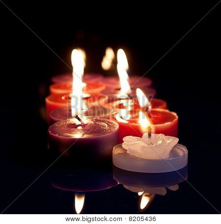 Red, White, Purple Candles
