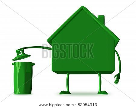 ?green Cottage Character With Rubbish Bin