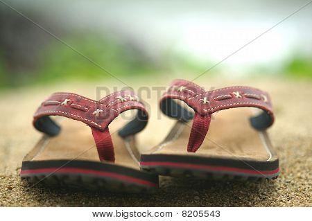 Flip-flops. Sand.