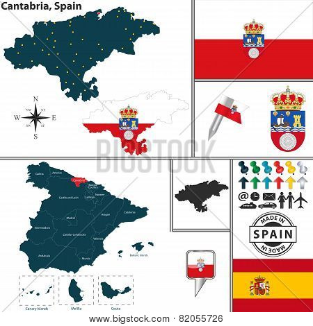 Map Of Cantabria, Spain