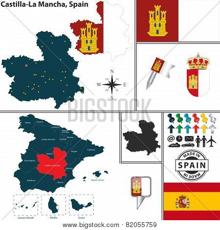 Map Of Castilla-la Mancha, Spain