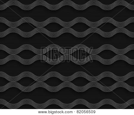 Geometrical Ornament 3D Wavy Lines On Gray Background